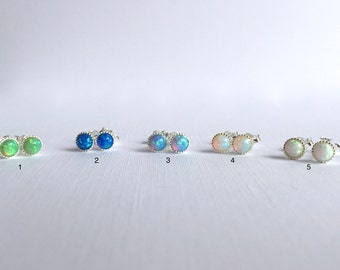 Opal Stud Earrings, White Opal Stud Earrings, Blue Opal Stud Earrings, Green Opal Stud Earrings, Tiny Opal Earrings