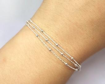 Triple Layered Dainty Chains Sterling Silver Bracelet, Sterling Silver Satellite Chain Bracelet, Layering Bracelet, Adjustable Bracelet