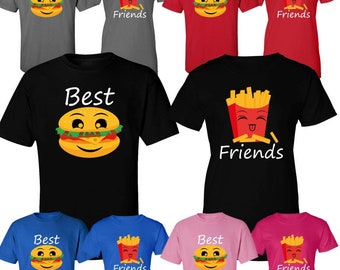 0247dce82d BFF Best Friends Couple Matching Shirts Burger and Fry Matching Love Shirts  Comes as a Set (2 shirts)