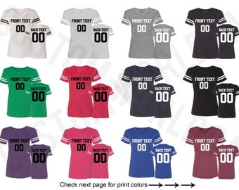 45fd74d07 Womens Personalized Football Jersey Team Shirts Name Number Customized Name  and Number Tee Custom Jersey Adult Ladies Shirt