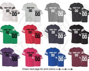 a1221d896 Youth Personalized Football Jersey Team Shirts Name Number Customized Name  and Number Tee Custom Jersey Kids Sizes Youth Name Number Tee