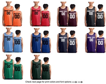 2d0eb2698e7 Customized Name and Number Basketball Jersey for Youth Team Shirts  Personalized Basketball Tee Custom Jersey Mesh Reversible Jersey Tank