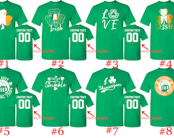 3e7ddaaf Customized St. Patty Shirts Name and Number St Patrick Shirts Irish Day  Shirts St Patty's Tees Customized 8 Designs Party Irish St Patrick