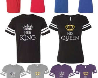 4e98dd10471 Matching King Queen Couple Shirts His and Hers Couple Matching Jersey Style  Tee Shirts Boyfriend Girlfriend Comes as a Set (2 shirts)
