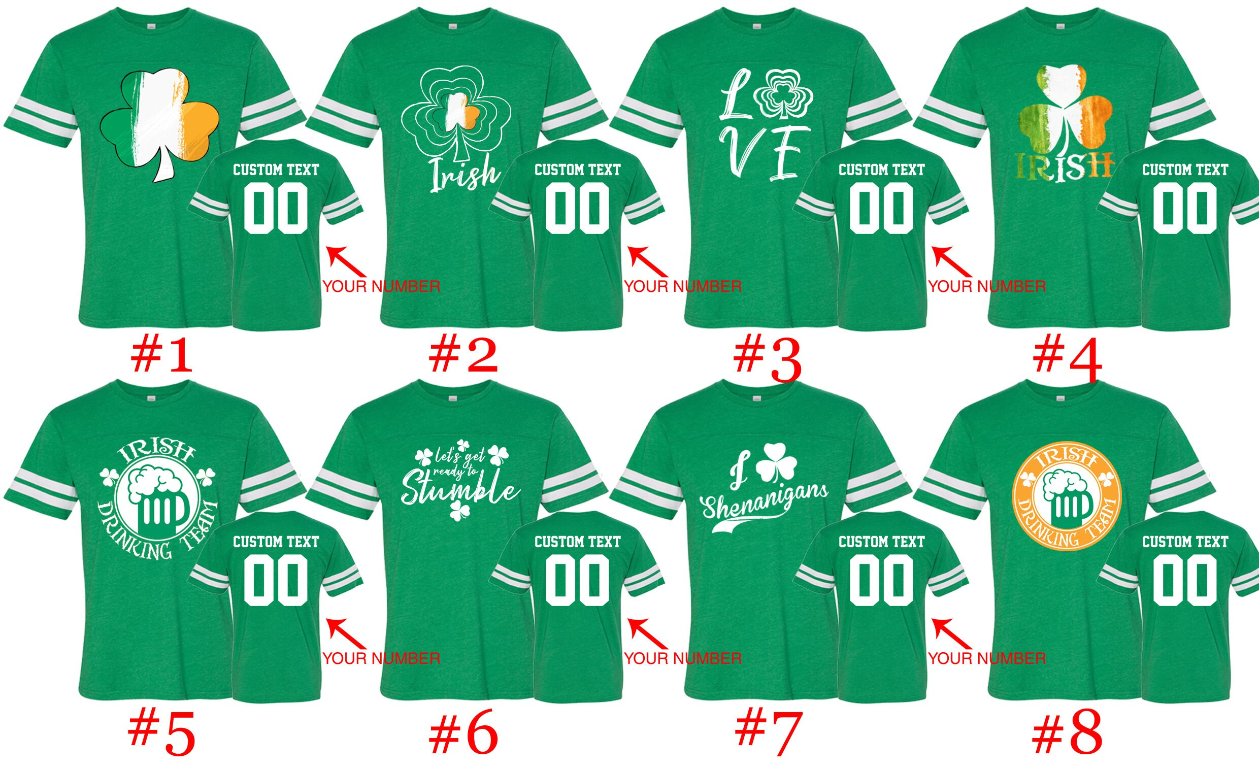 b8dd86a8 Customized St. Patty Jersey Shirts Name and Number St Patrick   Etsy
