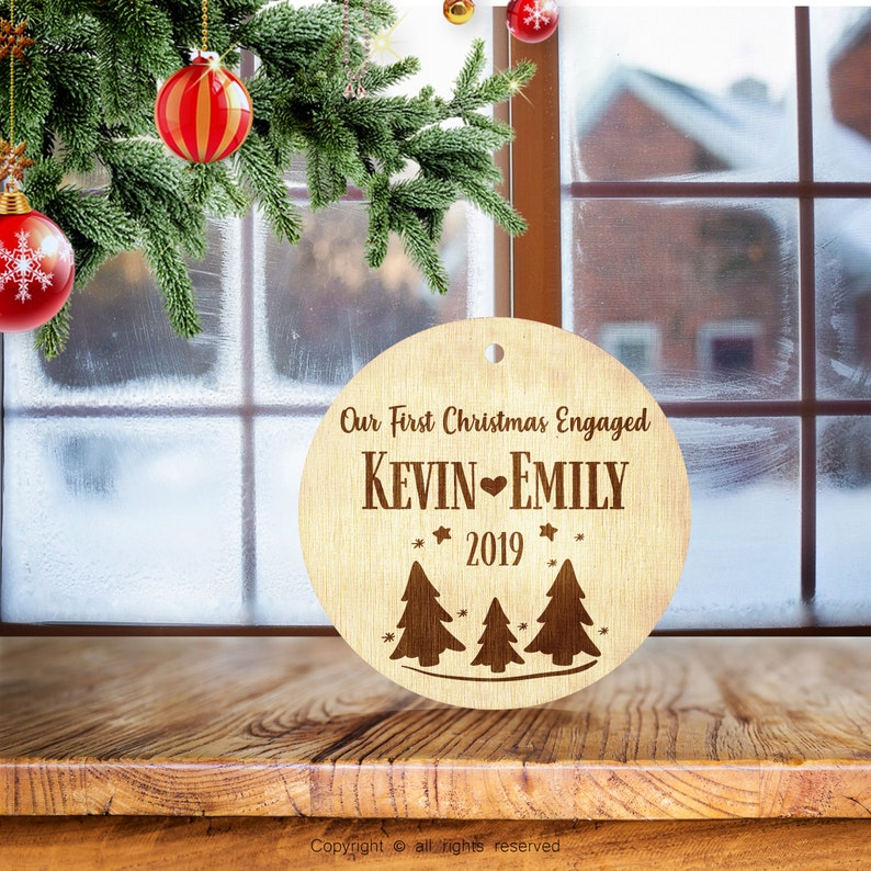 Personalized Ornaments for Christmas Engraved  Christmas Tree Decoration  Married Engaged Couples Wedding Gift Customized Newlywed Ornament