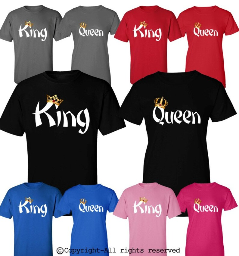 d0dac695ae0b King Queen Couple Shirts His and Hers Couple Matching Shirts