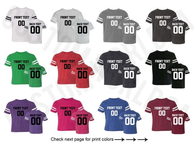 4d43e8ec8488b Customized Toddler Football Jersey Team Shirts Name Number Customized Name  and Number Tee Custom Jersey Kids Sizes 2T-5/6 Name Number Tee