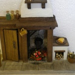 Doll House Miniature Fireplace one inch Scale Country Cottage Fireplace Medieval Tudor Historical Dolls House Kitchen Fireplace cooking