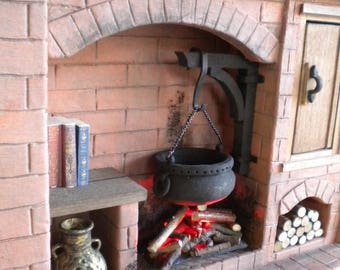 DollHouse Miniature Fireplace 1:12 Scale Colonial, Tudor, Medieval, Cooking, Historical. One Inch Fireplace