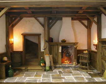 DollHouse Roombox   A Cottage Medieval Rustic Tudor Collectable