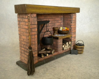 DollHouse Miniature Kitchen Fireplace Colonial, Tudor, Medieval, Dollshouse Cooking, Historical Miniature,Glowing Firplace