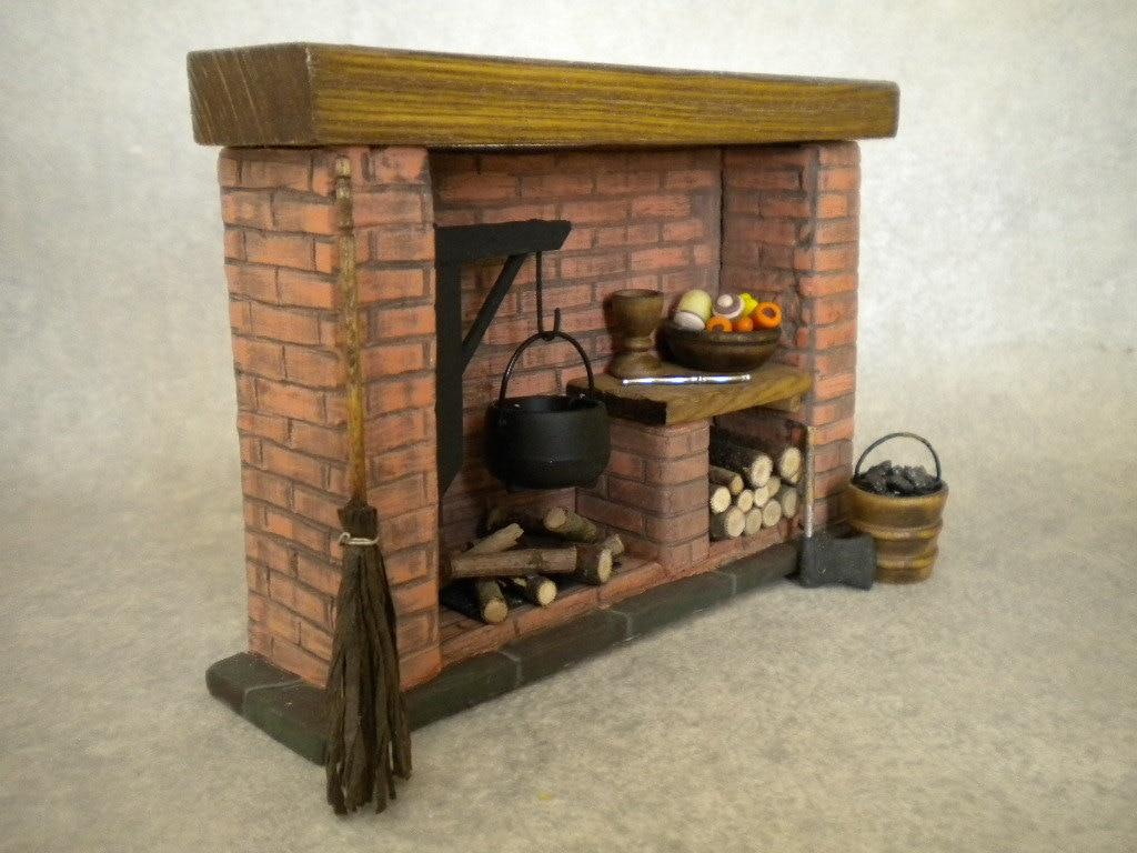 Puppenhaus Miniatur Küche Kamin Colonial Tudor Mittelalter