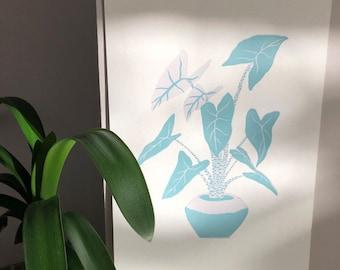 Alocasia zebrina linocut print limited edition