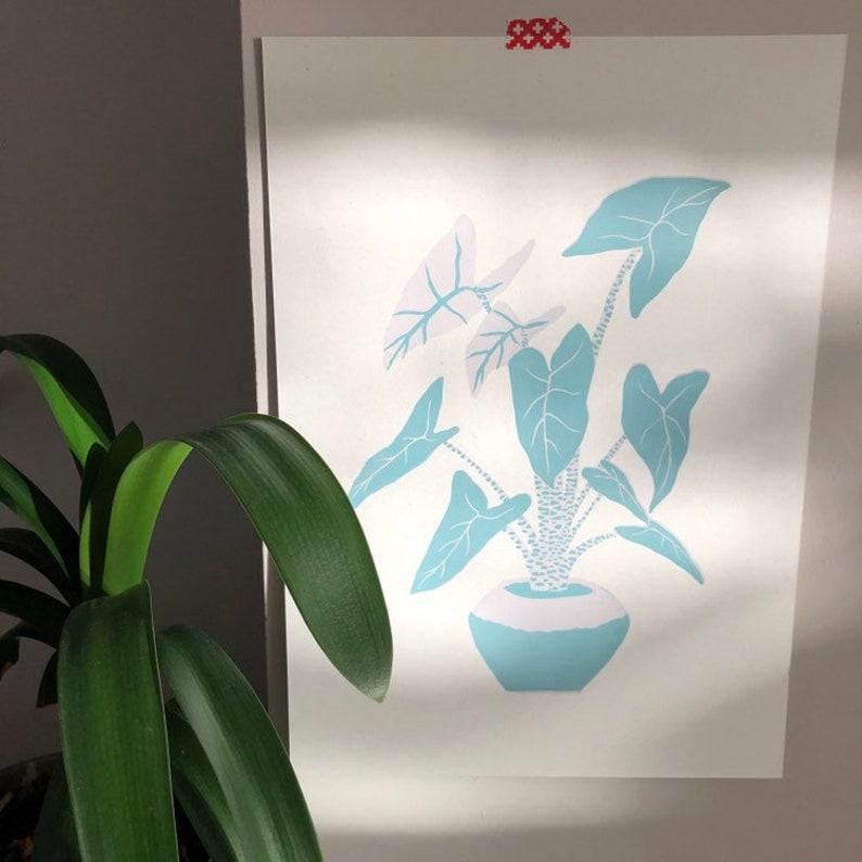 Alocasia zebrina linocut print limited edition image 0