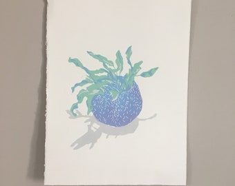 Linocut of a blue star fern