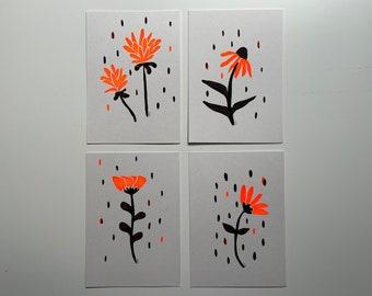Rainy flowers - screen printed postcards