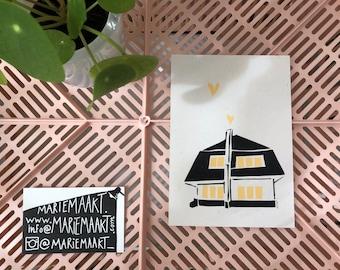Home - stencil screenprinted A6 postcard