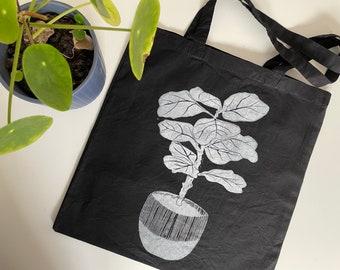 Hand printed bag - Fiddle leaf fig