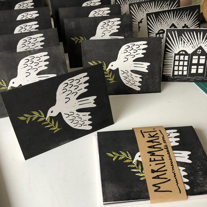 set of handprinted christmas cards image 0