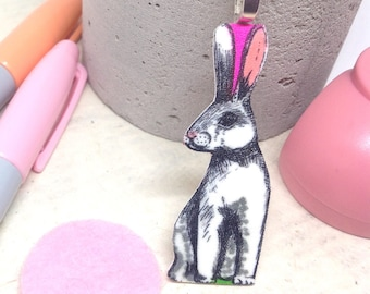 Rabbit Necklace, Statement Necklace, Animal Jewellery, Rabbit Lover Gift, Nature, Wildlife, Bunny Gifts, Birthday For Her, Best Friend, Mum.