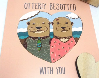 Otter Lover Card, Anniversary for Him, Otterly Besotted, Animal Valentines Card, Boyfriend Card, Girlfriend Card, Cute Wedding Card for Wife