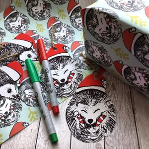 Hedgehog christmas gift wrap
