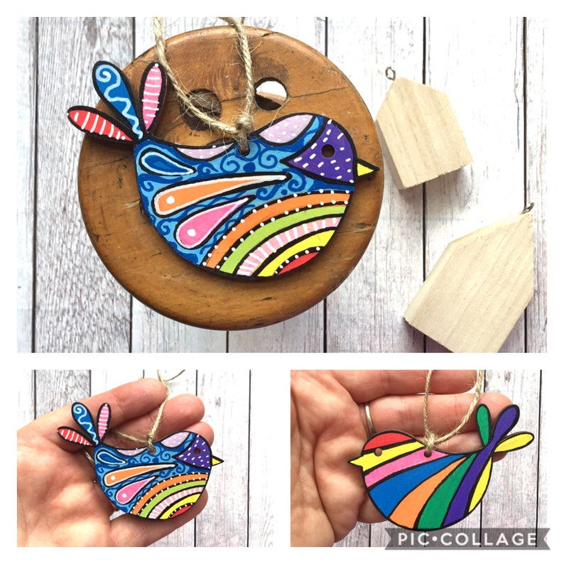 Lockdown Birthday Gift Letterbox Gift Missing You Positivity Gift Thinking Of You New Home Gift Rustic Decor. Rainbow Bird Hug Gift