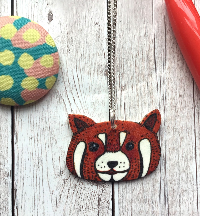c63c7a485 Red Panda Jewellery Quirky Shrink Plastic Necklace Gift | Etsy
