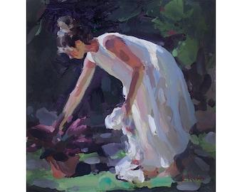 Original Acrylic Painting - In the Garden - FREE SHIPPING WORLDWIDE