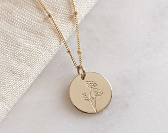 Poppy Flower Necklace in Gold Filled or Sterling Silver, Dainty Wildflower Floral Disc Necklace, August Birth Flower, Bridal Gift for her