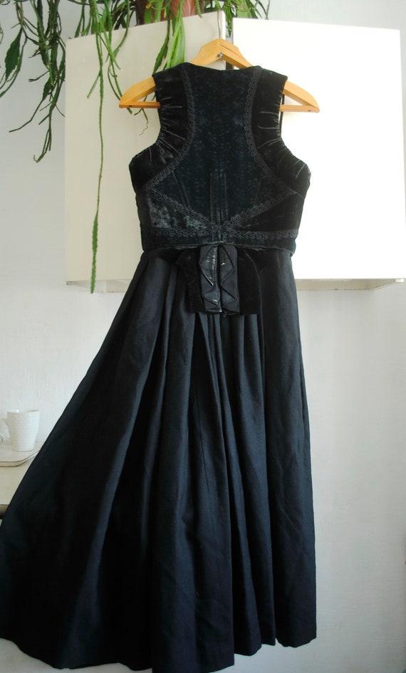 Antique Dress , Velvet Corset, 1880s Dress,Black V