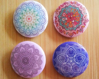 Mandala Pin Button Patch Badges, Gift Idea, Womens badge, For Her Birthday, Best Friend, Spiritual Yoga, Balance, Vegan, Hippy, Rainbow Love