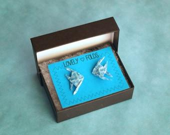 Origami fish earrings in a box