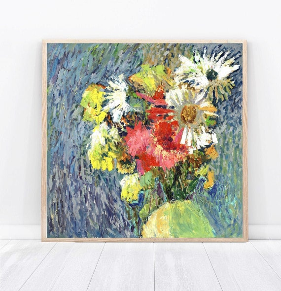 Contemporary Art Floral Blue Textured Bouquet For Birthday Etsy