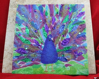 Peacock Painting with rhinestones and sparkle