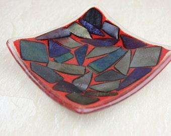 Fused Glass Decorative Trinket Plate