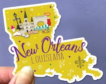 New Orleans Louisiana State Sticker French Quarter Big Easy Mardi Gras