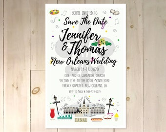 New Orleans Save the Date Custom Digital Download One Page One Side
