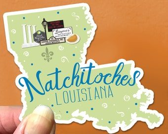 Natchitoches Louisiana State Sticker Meat Pies NSU Steel Magnolia signs