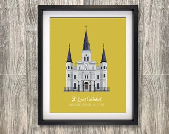 St. Louis Cathedral New Orleans Louisiana French Quarter Jackson Square 8x10 inch poster Wedding  Anniversary gift