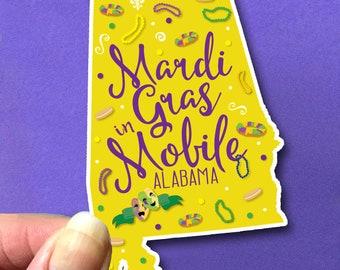 Mobile Alabama State Mardi Gras Stickers Moon Pies Beads King Cake