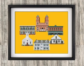 Natchitoches Louisiana Buildings Icons Color Digital prints Plantation Meat Pie Northwestern NSU