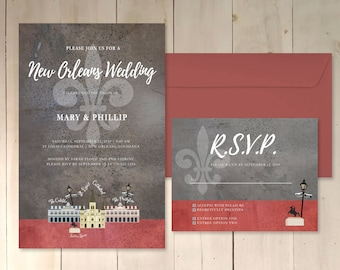 New Orleans theme wedding invitation rsvp save the date digital download