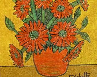 POT of ORANGE FLOWERS Original Painting 16x20 Framed No. 742
