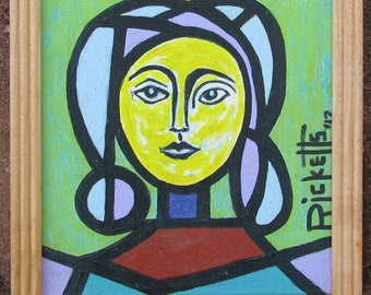 Yellow Woman Original Painting FREE SHIPPING Framed 8x10 No. 805
