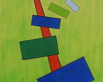 Composition 874 FREE SHIPPING Framed Original Acrylics Painting 16x20