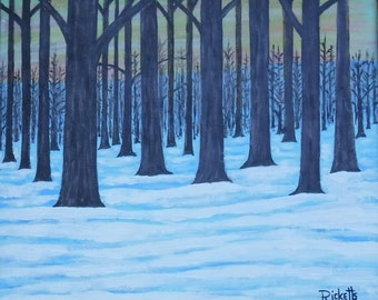 Forest Snow Original Mixed Media Painting Framed FREE SHIPPING framed 19x21.5 No. 469