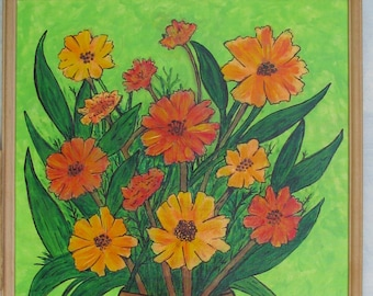 Potted Flowers Original Acrylics Painting Framed FREE SHIPPING 18x24 No. 860