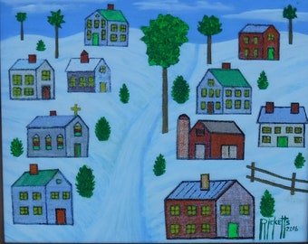 Melting Village Snow FREE SHIPPING Framed Original Mixed Media Painting  20X16 No. 719
